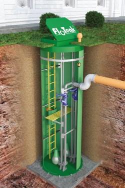 КНС подземного исполнения с погружными насосами (классический вариант)