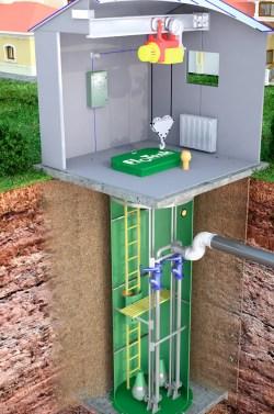 КНС подземного исполнения с погружными насосами и павильоном обслуживания